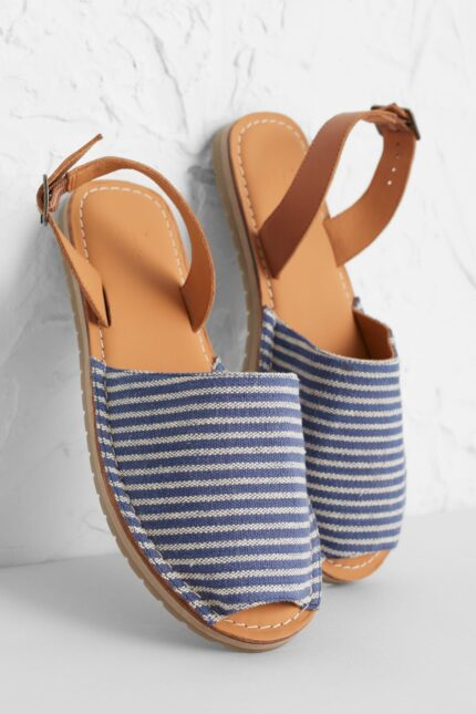 Seasalt Cornwall kožené sandály open skies stripe