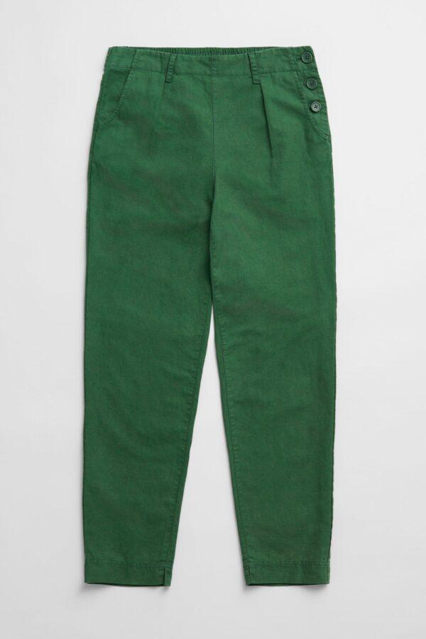 Seasalt Cornwall kalhoty se lnem nanterrow zelené