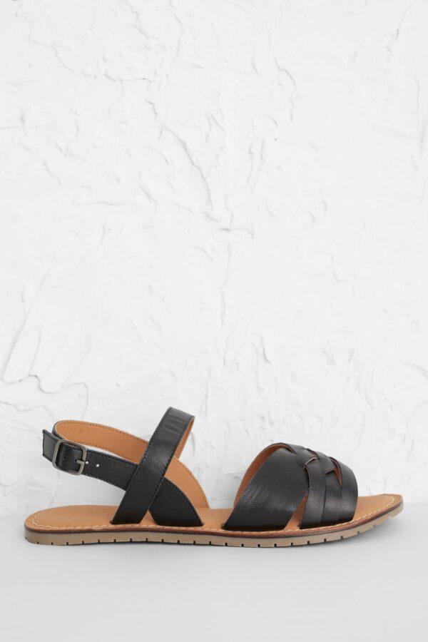 Seasalt Cornwall kožené sandály chapel down černé