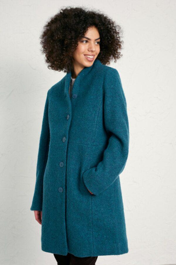 Seasalt Cornwall vlněný kabát downas cove storm