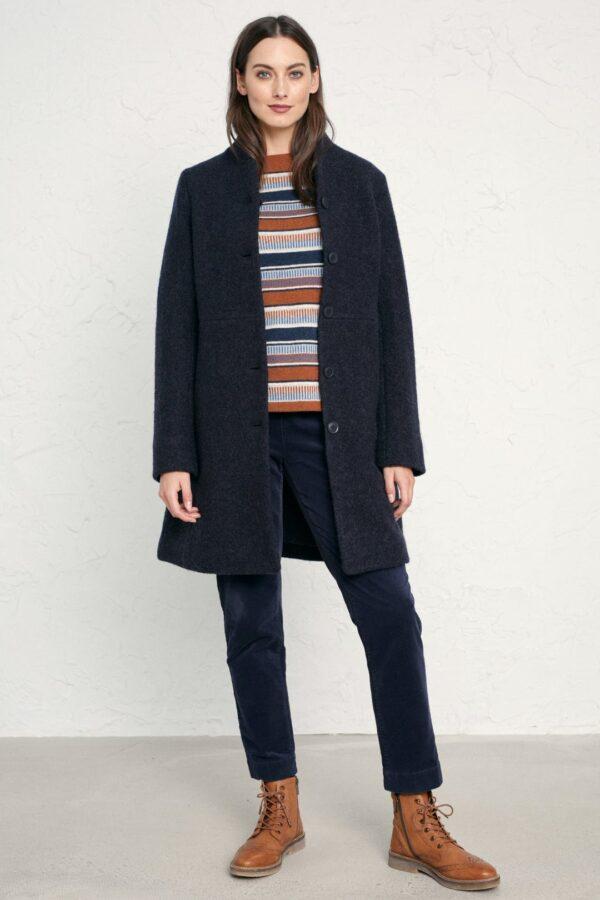 Seasalt Cornwall vlněný kabát downas cove dark