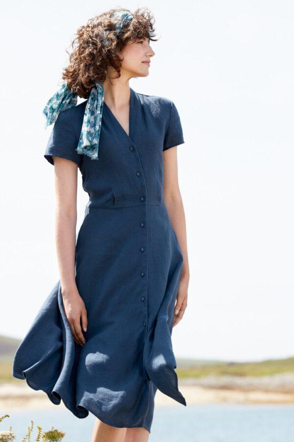 Seasalt Cornwall lněné šaty carved wood modré
