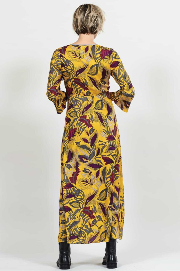 Nomads maxi šaty dancing leaves žluté