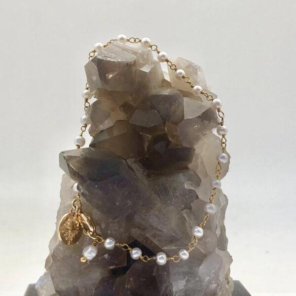 náramek rosary Černý onyx s granátem