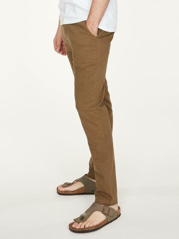 Thought pánské kalhoty z bio bavlny emanuele khaki