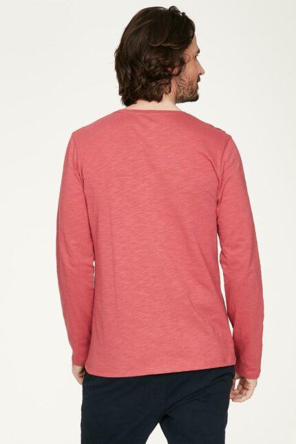 Thought pánské tričko s dlouhým rukávem z bio bavlny růžové
