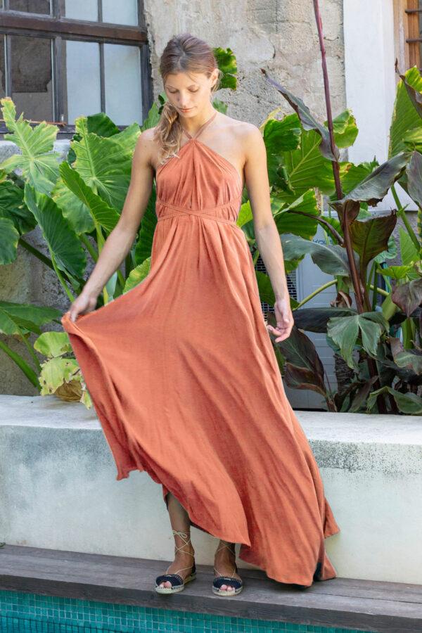 Suite13 dlouhé tencelové variabilní šaty ginger