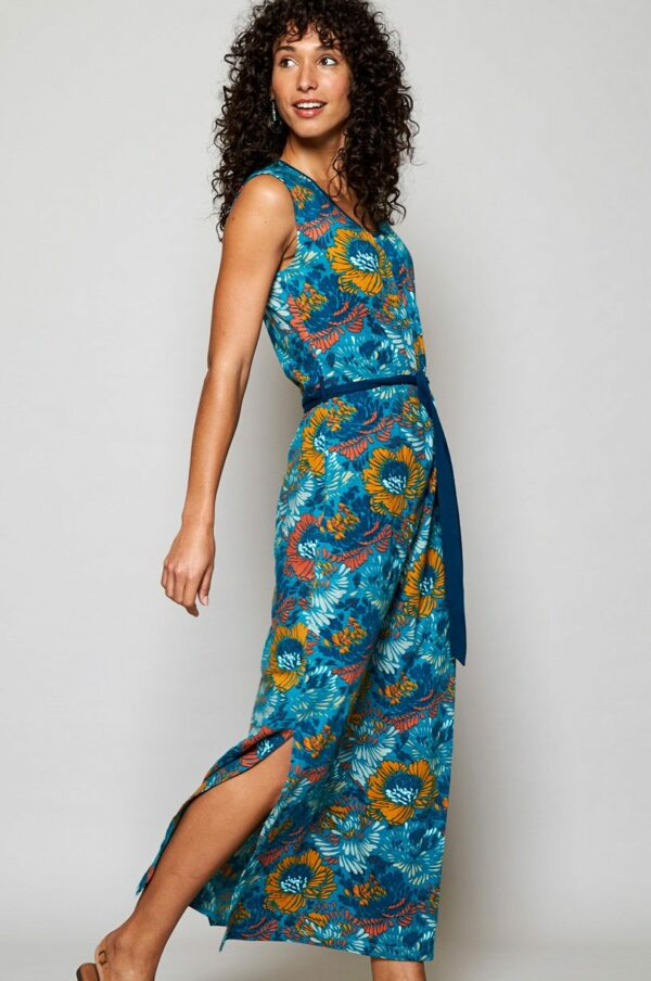Nomads maxi šaty petal z bio bavlny modré