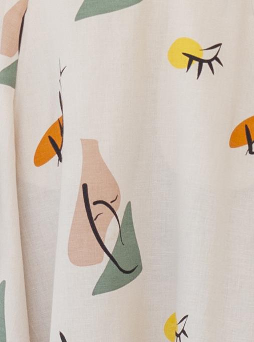 Suite13 Šaty daphne se lnem tapioca print krátké