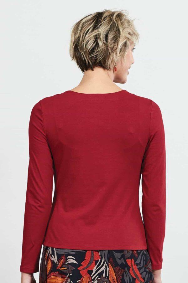Nomads top z bio bavlny s řasením červený