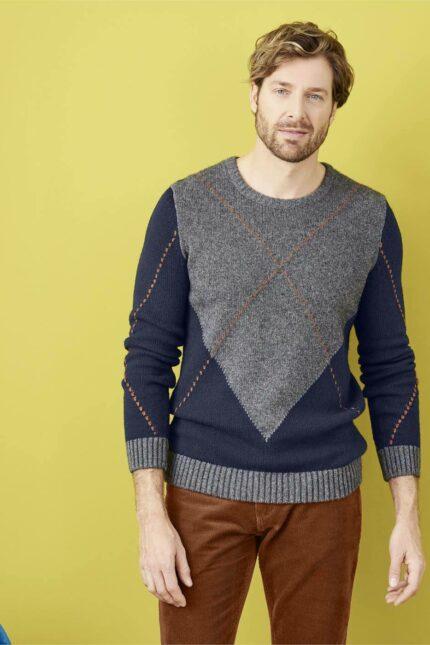 Living Crafts svetr s vlnou hannes modrý