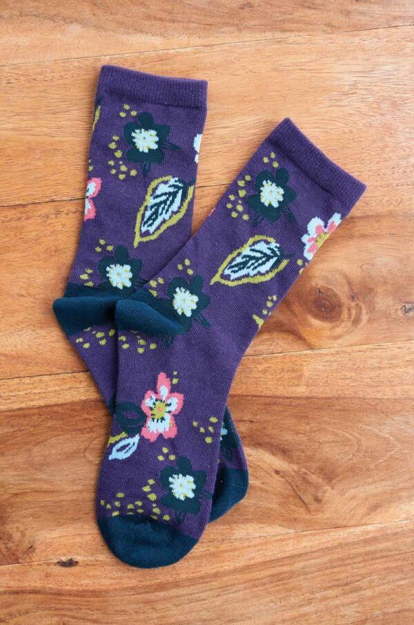 Nomads dámske ponožky z bio bavlny floral fialové
