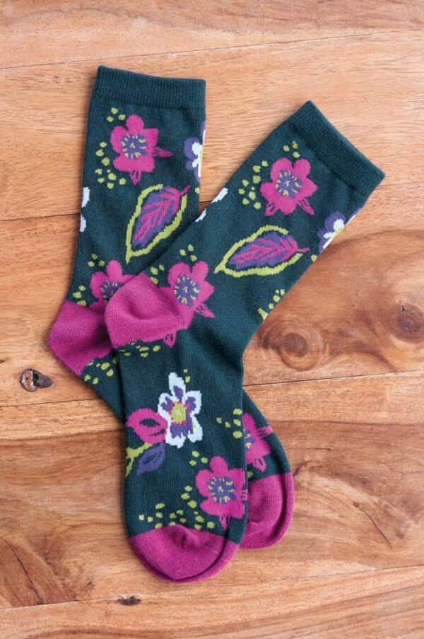 Nomads dámske ponožky z bio bavlny floral zelené