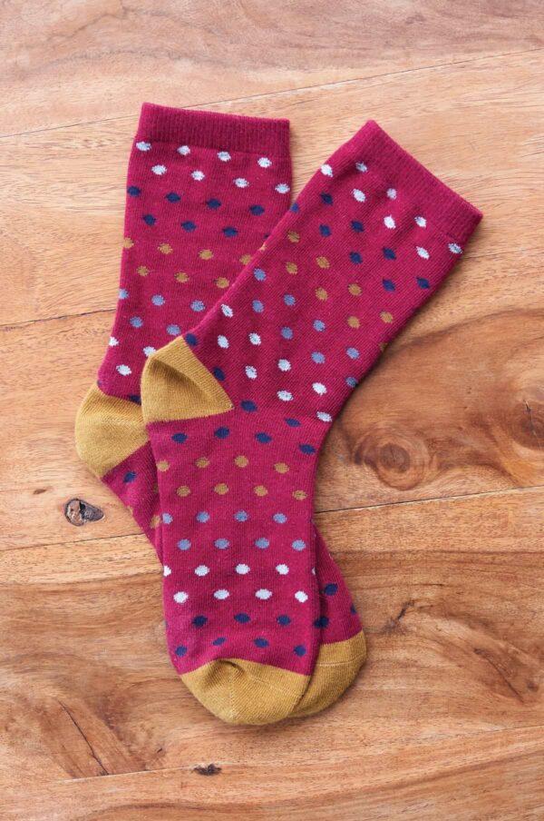 Nomads dámske ponožky z bio bavlny spotty červené