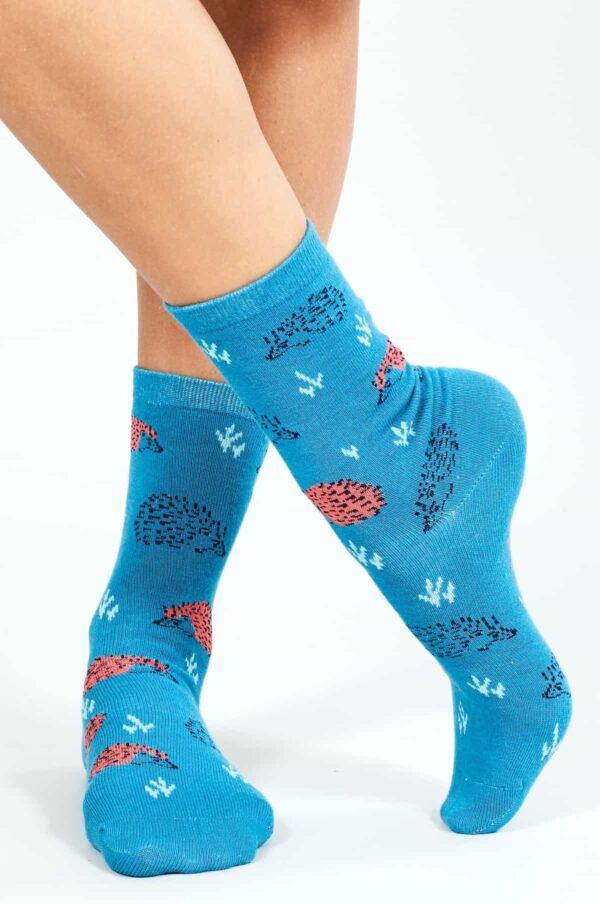 Nomads dámske ponožky z bio bavlny hedgehog modré