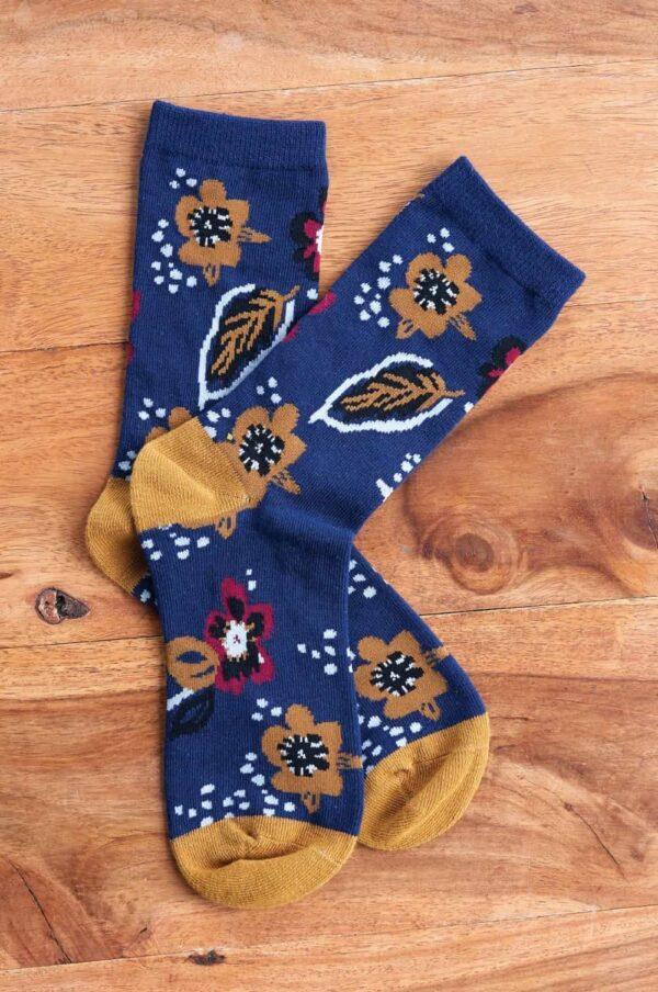 Nomads dámske ponožky z bio bavlny floral modré