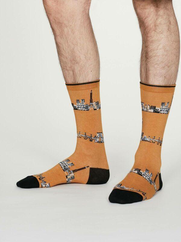 Thought pánské bavlněné ponožky monument žluté