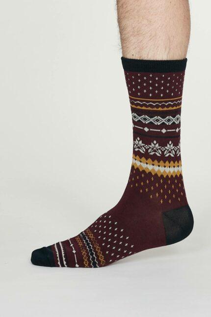 Thought pánské bambusové ponožky reginald vínové