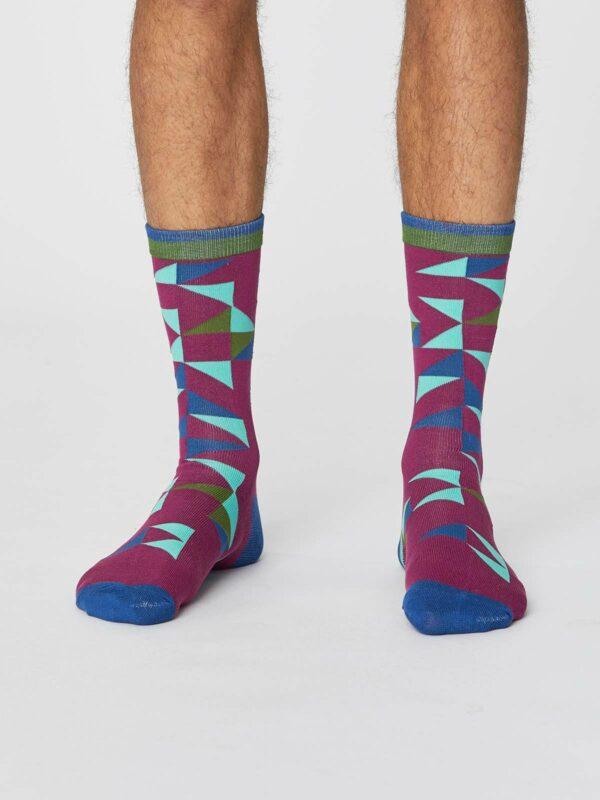 Thought pánské bambusové ponožky triangle bordó