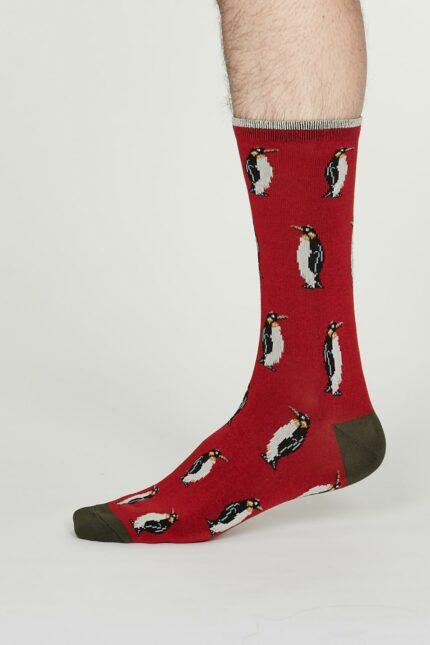 Thought pánské bambusové ponožky penguin červené