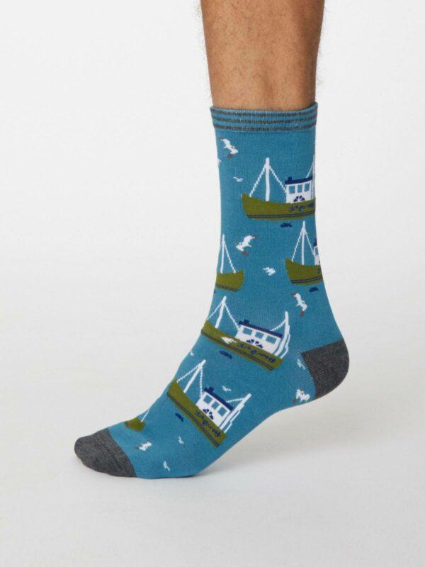 Thought pánské bambusové ponožky pesca sv. modré