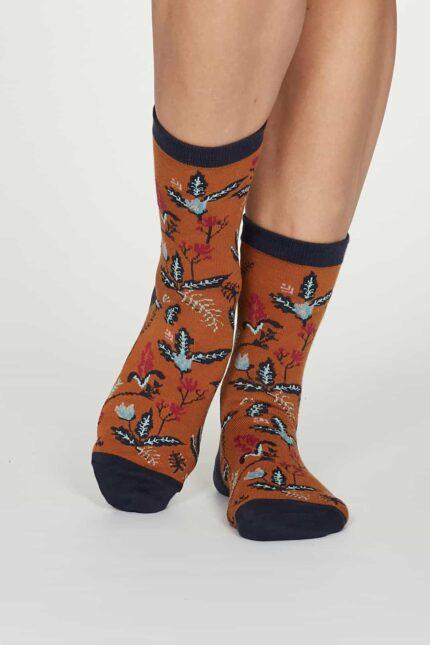 Thought dámske bambusové ponožky margery oranžové