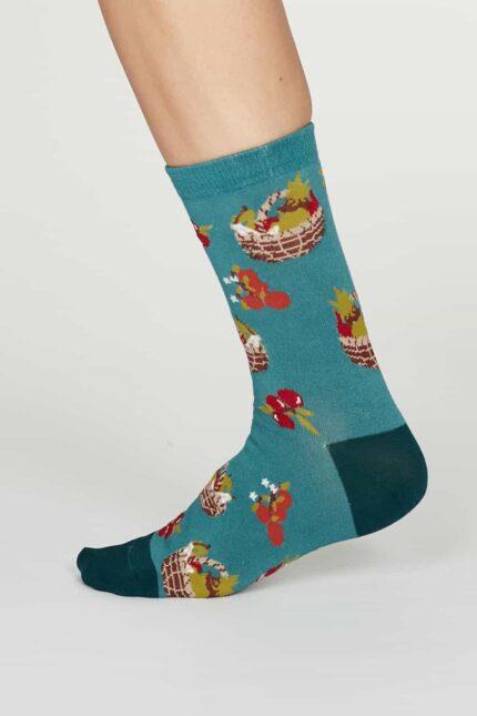 Thought dámske bambusové ponožky eden tyrkysové