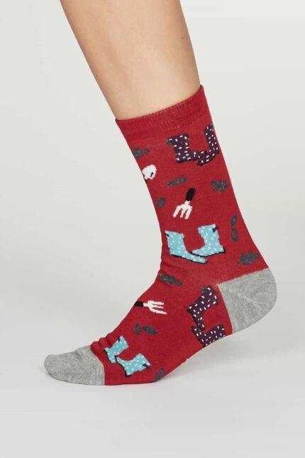 Thought dámske bambusové ponožky eden červené