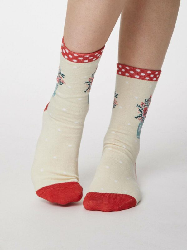 Thought dámske bambusové ponožky flora modré (kopírovat)