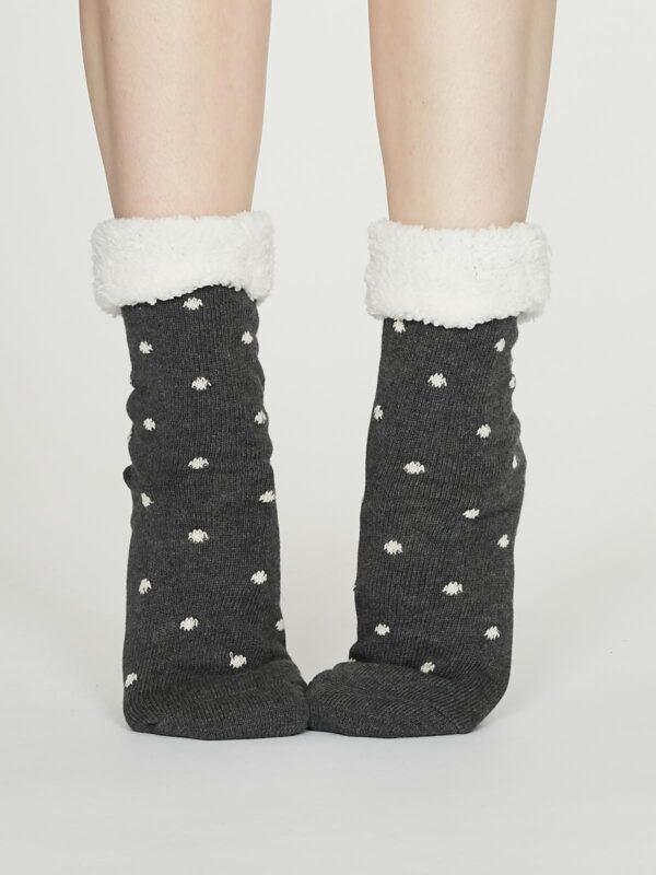 Thought dámske huňaté ponožky elizabeth šedé