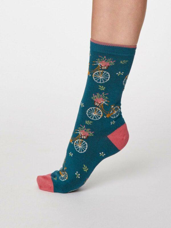 Thought dámske bambusové ponožky bicicletta tm. modré
