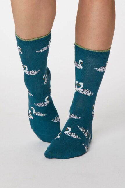 Thought dámske bambusové ponožky cigno tm. modré