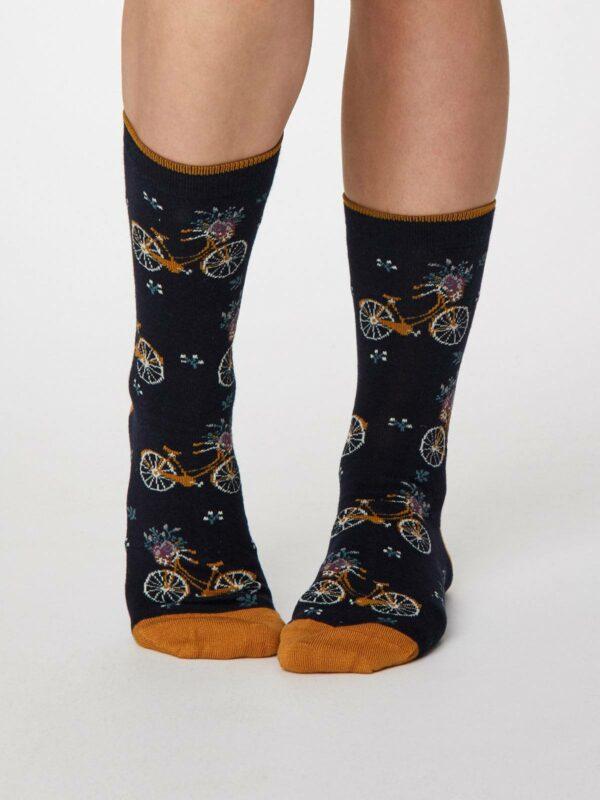 Thought dámske bambusové ponožky floreale tm. modré