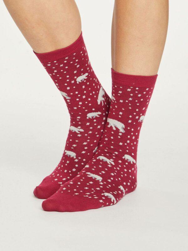 Thought dámske bambusové ponožky arctic polar bear modré