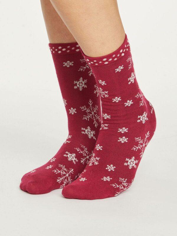 Thought dámske bambusové ponožky snowflake červené