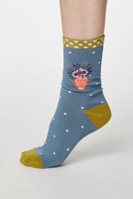 Thought dámske bambusové ponožky flora oranžové