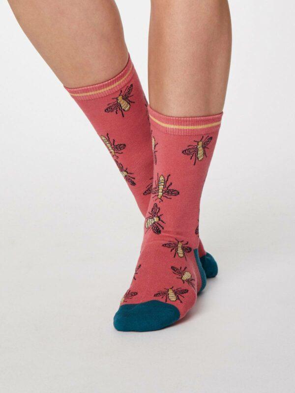 Thought dámske bambusové ponožky insetto růžové
