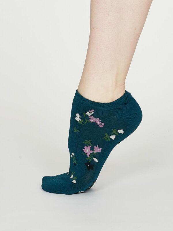 Thought dámske kotníkové ponožky flowery zelené