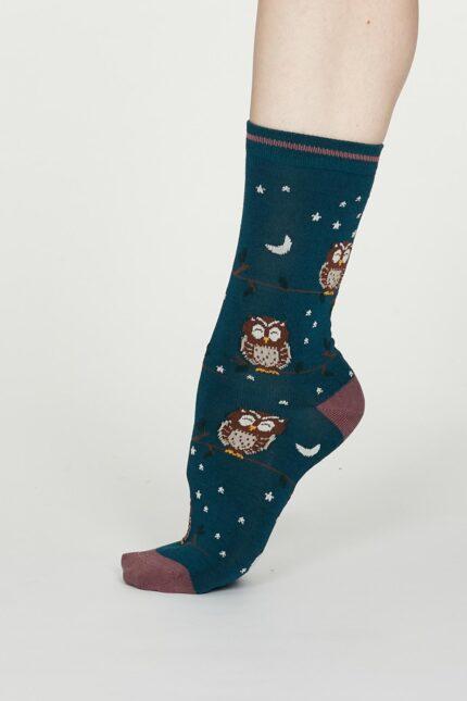 Thought dámske bambusové ponožky night owl zelené