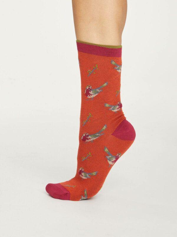 Thought dámske bambusové ponožky british birds zelené