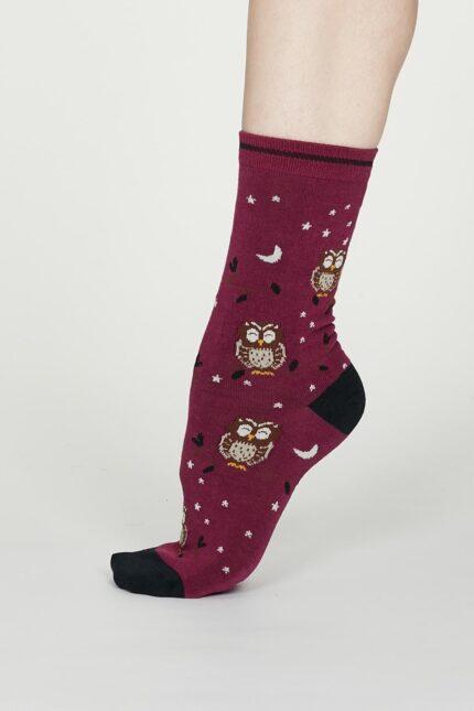 Thought dámske bambusové ponožky night owl vínové