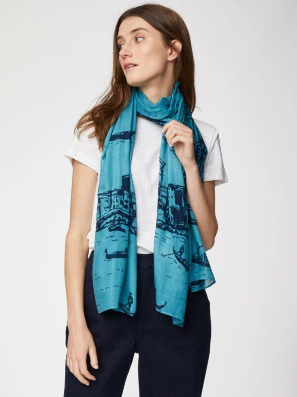 Thought bambusový šátek barca modrý