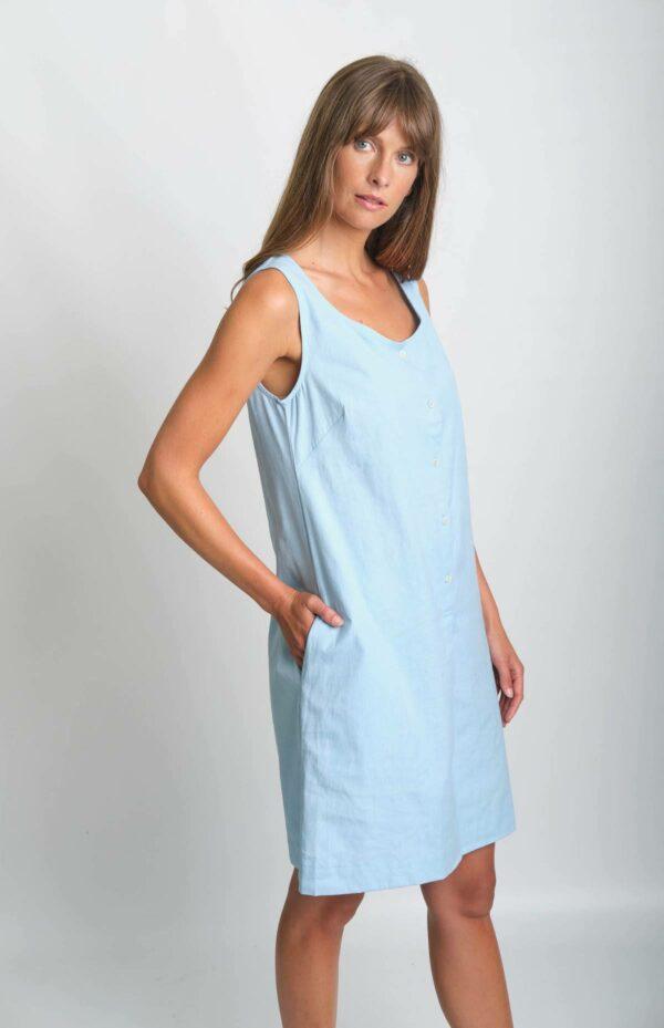 Bibico Šaty erine se lnem modré