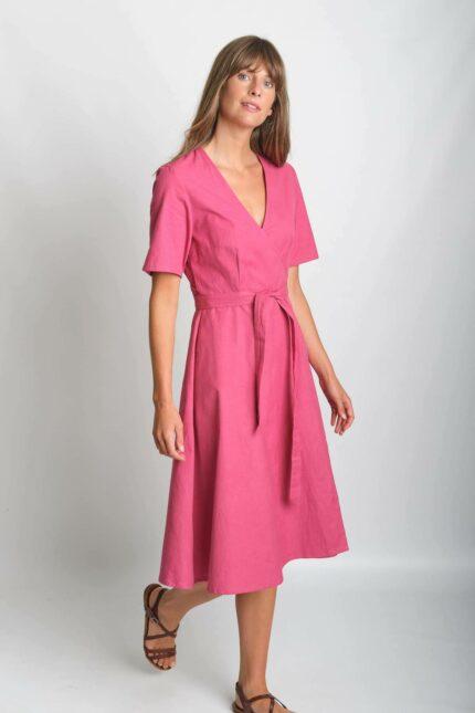 Bibico zavinovací šaty se lnem ida růžové