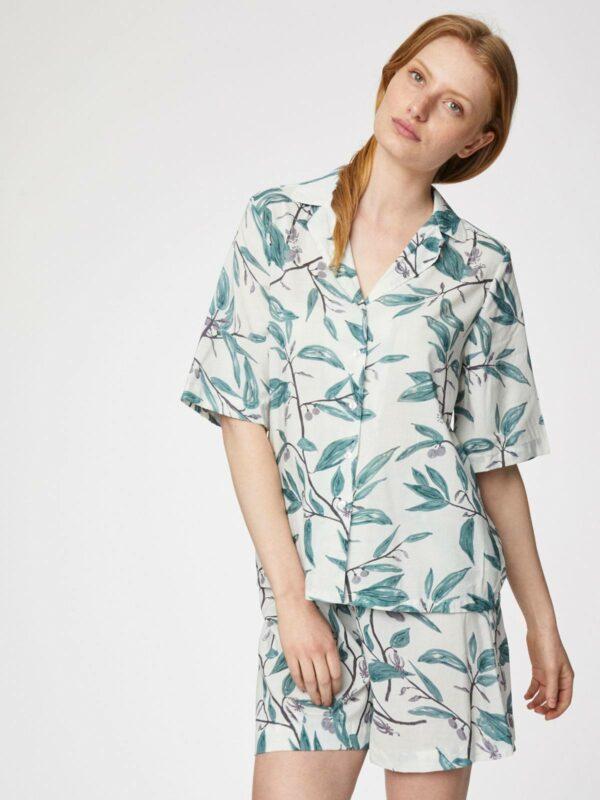 Thought pyžamový košilový top oliva
