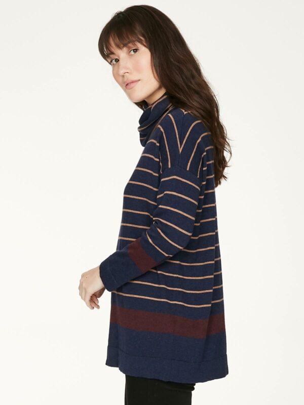 Thought rolákový svetr s vlnou emery modrý